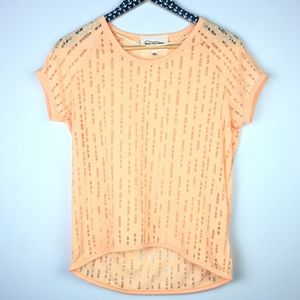 Two by Vince Camuto Peach Distressed Shirt Size XS